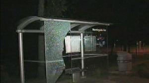 Smashed bus shelter