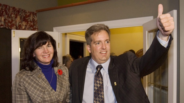 Scott Armstrong and Tammy Stewart celebrate the byelection win in Truro, N.S. on Nov. 9, 2009.