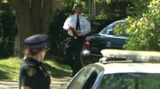 Orangeville Police Chief Joseph Tomei arrives at the family home of Sonia Varaschin in Aurora, Ont., Tuesday, Sept. 7, 2010