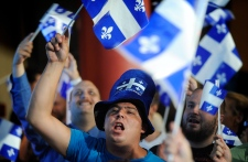 Parti Quebecois supporters cheer