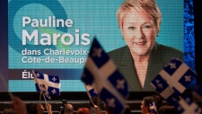 Supporters cheer the election of PQ Leader Pauline Marois