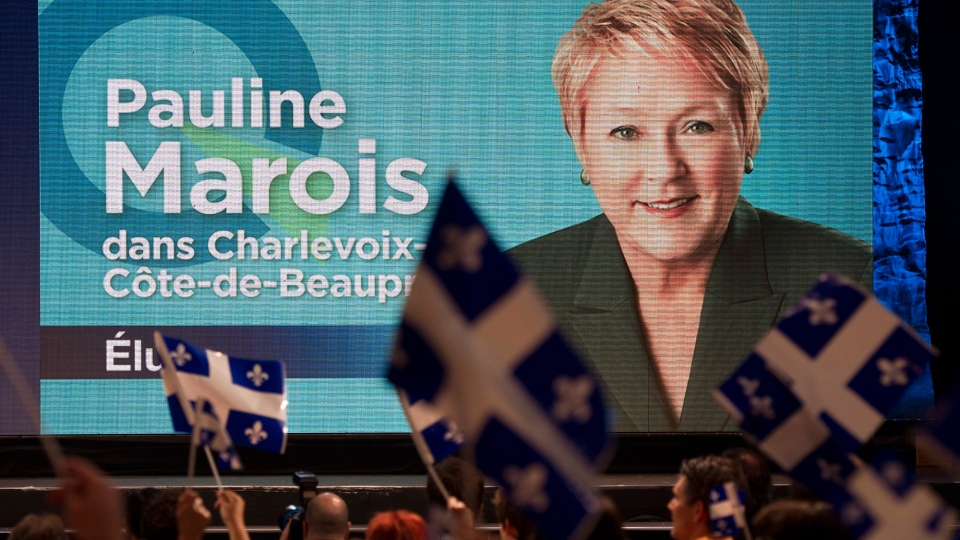 Supporters cheer the election of PQ Leader Pauline Marois Tuesday, Sept. 4, 2012 in Montreal. (Paul Chiasson / THE CANADIAN PRESS)