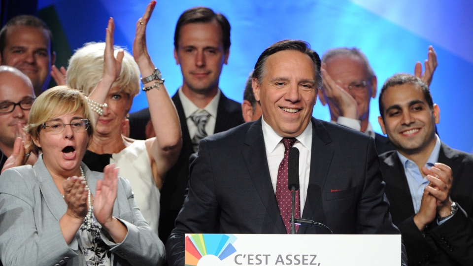 Coalition Avenir Quebec leader Francois Legault speaks after provincial election polls closed in Repentigny, Que. on Tuesday, September 4, 2012. (Sean Kilpatrick / THE CANADIAN PRESS)
