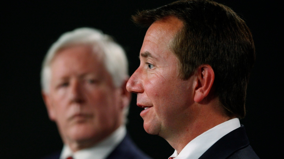 Interim Liberal Leader Bob Rae, left, and Liberal MP Scott Brison hold a press conference about government spending cuts to the Parliamentary Budget Officer on Parliament Hill in Ottawa on Monday, June 18, 2012. (Sean Kilpatrick/THE CANADIAN PRESS)
