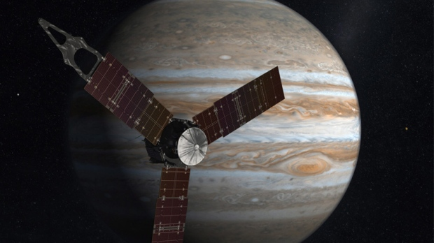 This undated image released by NASA shows an artist rendering of the Juno spacecraft circling Jupite