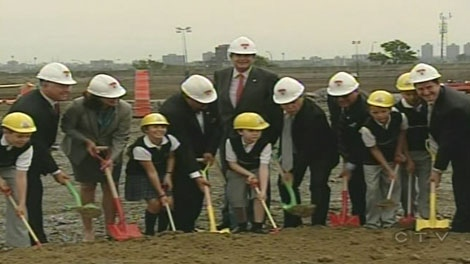 Children helped break ground at the site of the new Montreal Children's Hospital in the Glen Yards.