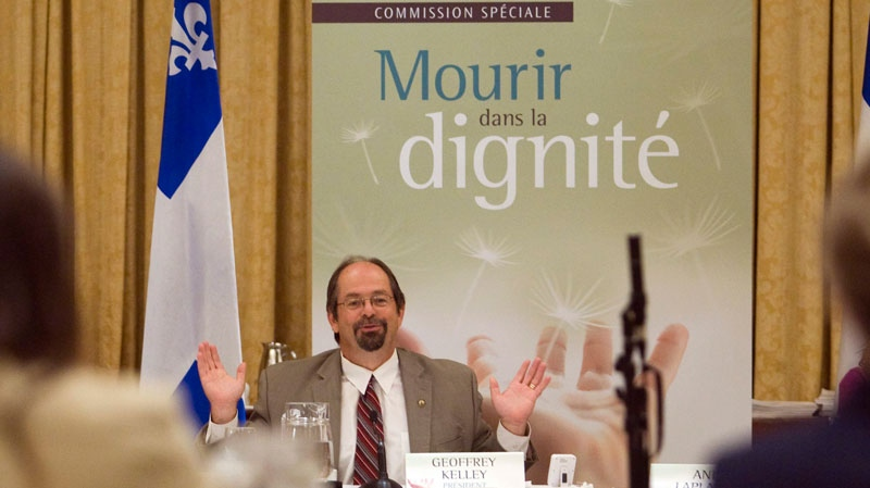 Inquiry President Geoffrey Kelley speaks to presenters on the first day of the public inquiry into Death with Dignity, in Montreal, on Tuesday, Sept. 7, 2010 (Ryan Remiorz / THE CANADIAN PRESS)