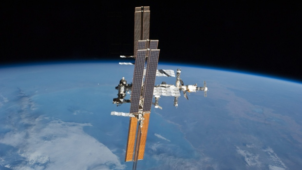 The International Space Station photographed from the space shuttle Atlantis on July 19, 2011.