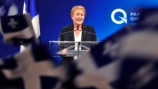 Parti Quebecois Leader Pauline Marois takes the stage in Montreal