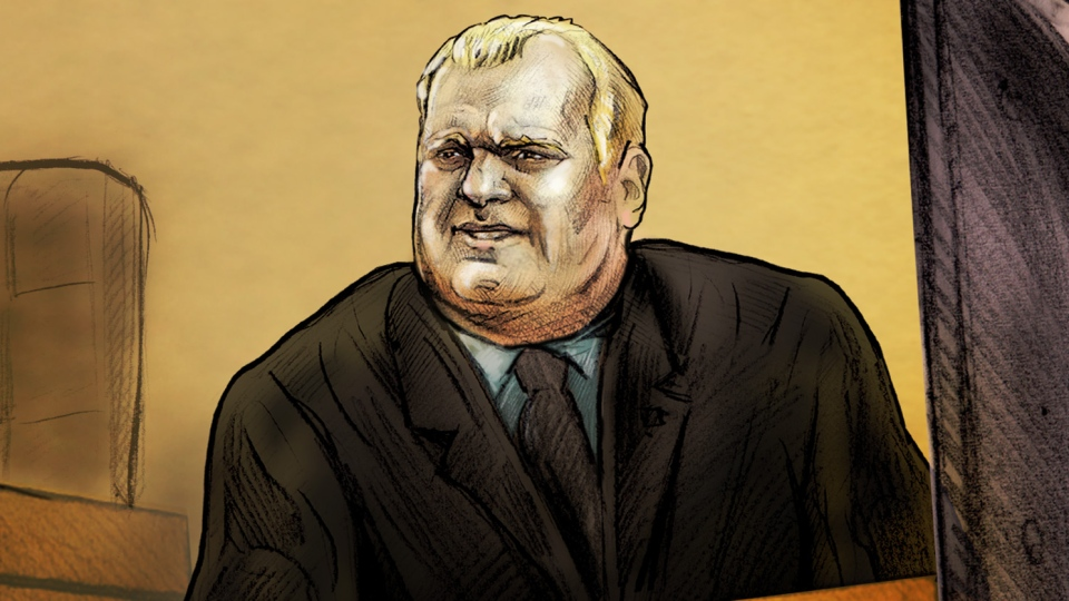 A court sketch depicts Rob Ford, who appeared in a Toronto court on Wednesday, Sept. 5, 2012. (Natalie Berman / CTV News)