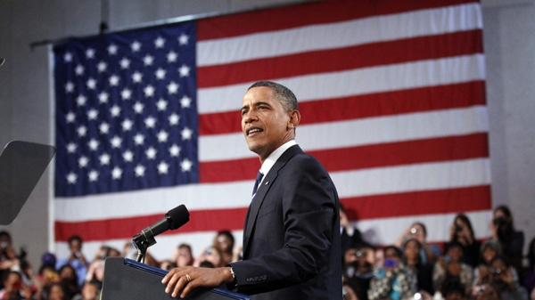 President Barack Obama delivering remarks on the economy, at Cuyahoga Community College West Campus in Parma, Ohio., Wednesday, Sept. 8, 2010, (AP / Pablo Martinez Monsivais)