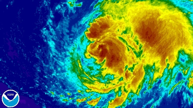 Hurricane Leslie is shown churning through the North Atlantic in this enhanced NOAA satellite image taken at 7:15 a.m. ET on Thursday, Sept. 6, 2012. (NOAA)