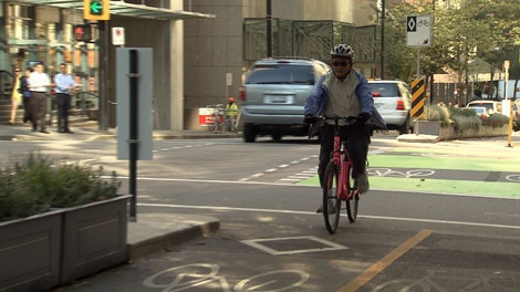 The proposed bike lane on Hornby Street is causing controversy between the city and small businesses. (CTV)