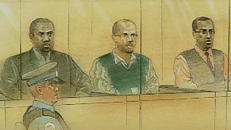The defendants in the 'Galloway Boys' murder trial sit in the prisoners' box on Monday, May 4, 2009.