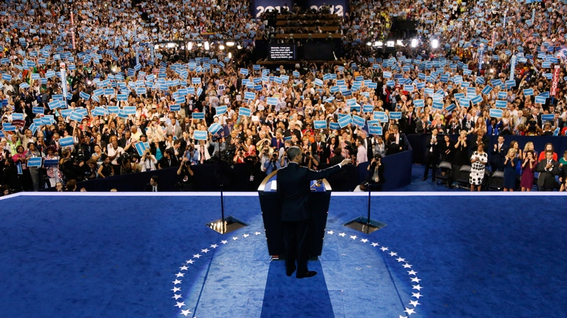 U.S. President Barack Obama speaks to delegates at the Democratic National Convention in Charlotte, N.C., on Thursday, Sept. 6, 2012. (AP / Charlie Neibergall)