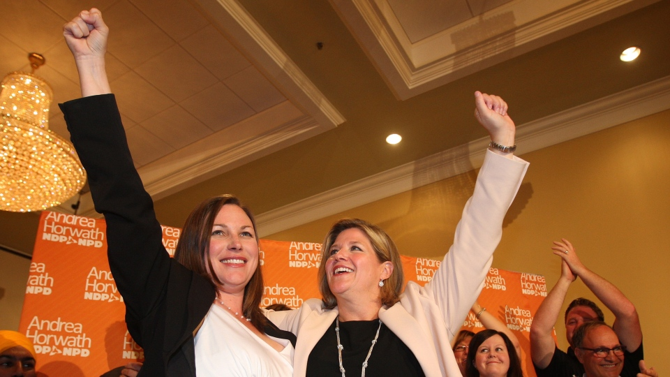NDP candidate Catherine Fife and leader Andrea Horvath celebrate win with supporters in a Ontario provincial by-election in the Kitchener-Waterloo riding in Kitchener-Waterloo, ON, Thursday, Sept. 6, 2012. (Dave Chidley / THE CANADIAN PRESS)