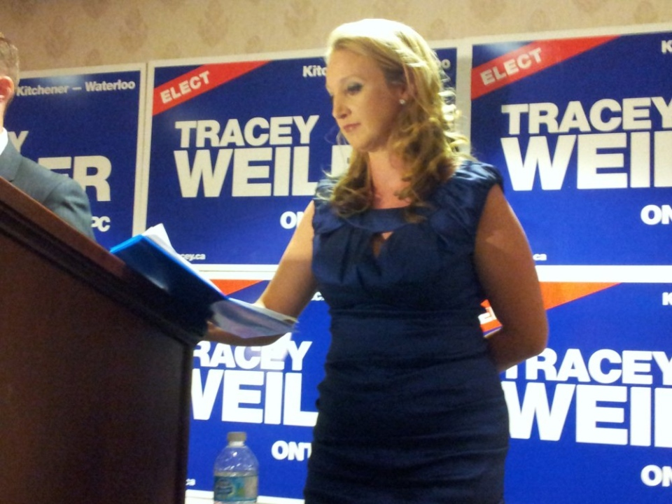 Tracey Weiler, PC candidate for Kitchener-Waterloo, speaks after losing the riding on Thursday, Sept. 6, 2012
