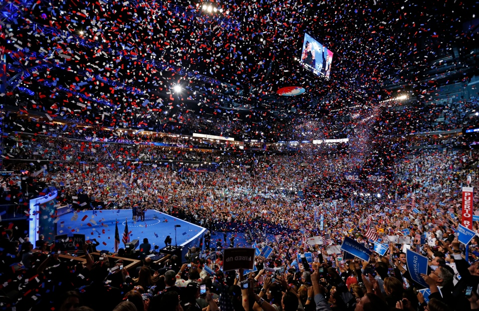 U.S. President Barack Obama and his family and U.S. Vice President Joe Biden and his family celebrate their nominations as the confetti falls at the conclusion of the Democratic National Convention in Charlotte, N.C., on Thursday, Sept. 6, 2012. (AP / Carolyn Kaster)