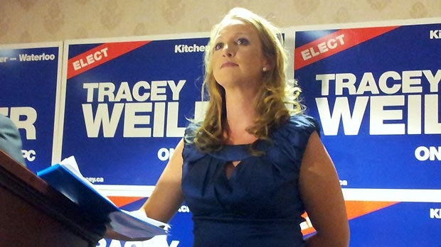 Defeated PC candidate for Kitchener-Waterloo Tracey Weiler prepares to speak after the byelection on Thursday, Sept. 6, 2012.