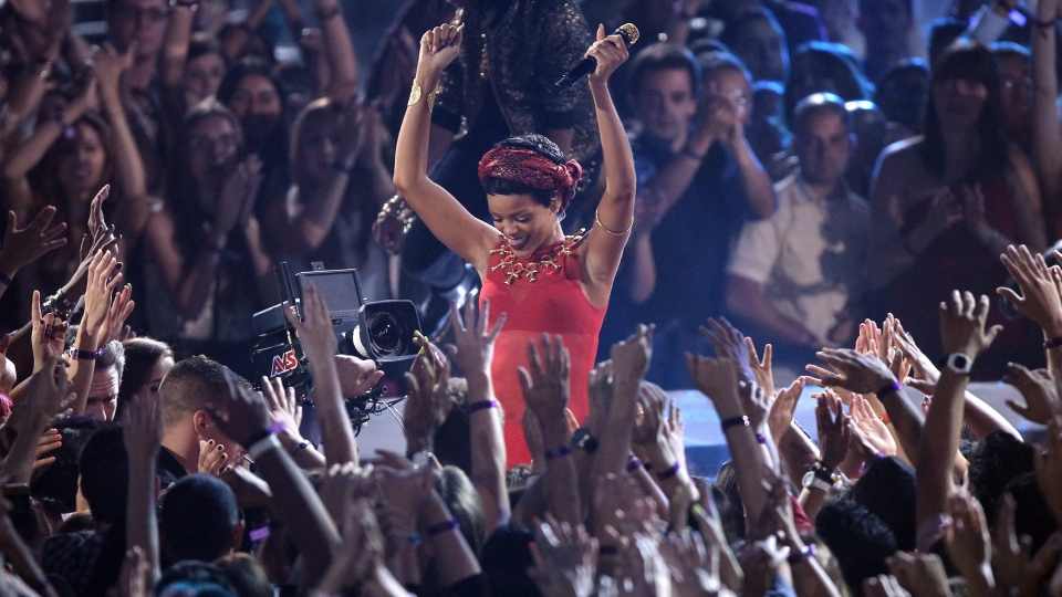 Rihanna performs at the MTV Video Music Awards on Thursday, Sept. 6, 2012, in Los Angeles. (Matt Sayles / Invision)