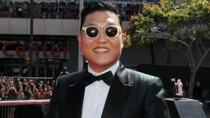 South Korean rapper PSY arrives at the MTV Video Music Awards on Thursday, Sept. 6, 2012, in Los Angeles. (Matt Sayles / Invision)