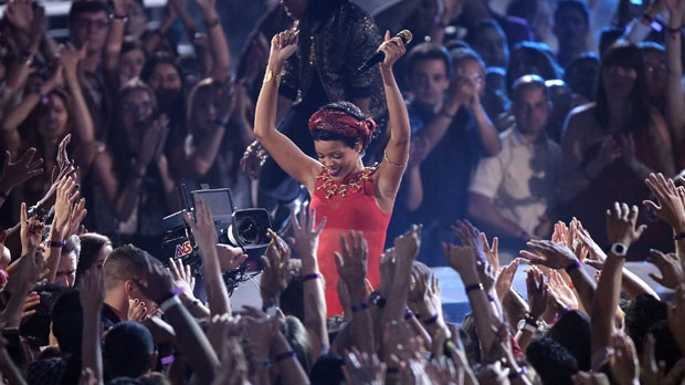 Rihanna performs at the MTV Video Music Awards on Thursday, Sept. 6, 2012, in Los Angeles. (Photo by Matt Sayles/Invision/AP)