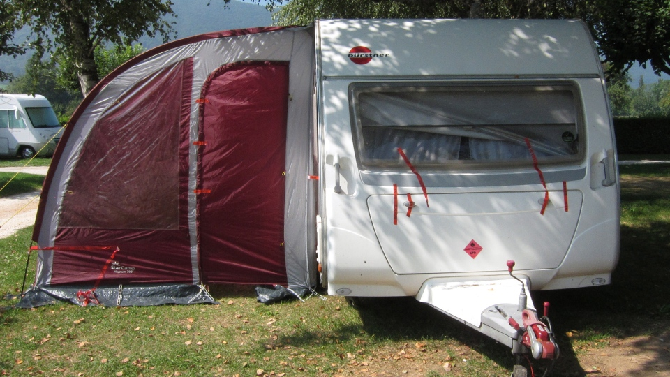 A view of the trailer where the slain British family were holidaying in a camp site of Saint Jorioz, near Annecy, French Alps, Friday, Sept. 7, 2012. (AP / Lionel Cironneau)