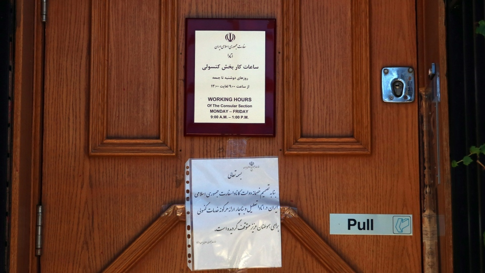The door of the Iranian embassy in Ottawa is shown Friday Sept. 7, 2012. (Fred Chartrand / THE CANADIAN PRESS)