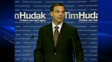 Progressive Conservative Leader Tim Hudak tells the news media on Friday, Sept. 10, 2010 about his priorities for the looming session of the Ontario legislature.