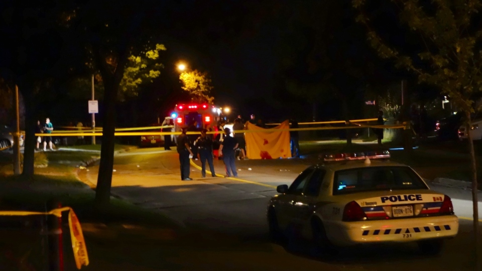 The scene of a fatal shooting in Scarborough is cordoned off on Sept. 8, 2012. (Tom Podolec / CTV Toronto)