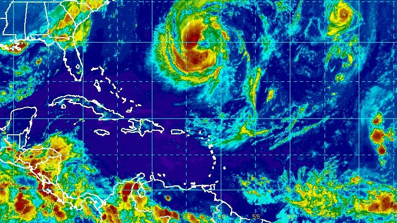 Tropical storms Leslie (left) and Michael (right) are seen in this enhanced NOAA satellite image taken at 9:15 p.m. ET, Saturday, Sept. 8, 2012.