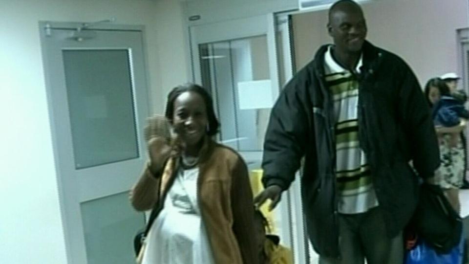 Saint John Mill Rats centre Modibo Diarra lands in New Brunswick with his family on Sunday, Sept. 9, 2012.
