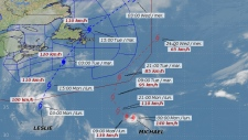 This track map provided by the Canadian Hurricane Centre shows projected path of Tropical Storm Lesl