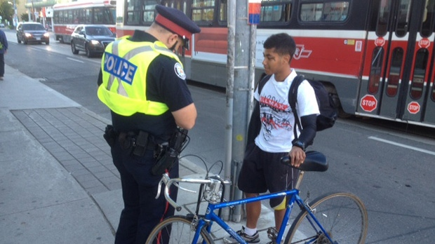 Cyclist ticketed