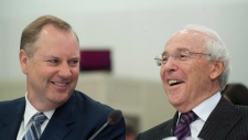BCE/Bell Canada CEO George Cope, left, speaks in Montreal, Monday, September 10, 2012, with Astral M