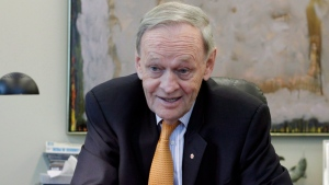 Former prime minister Jean Chretien gestures during an interview at his office in Ottawa Monday, April 16, 2012. (Fred Chartrand / THE CANADIAN PRESS)