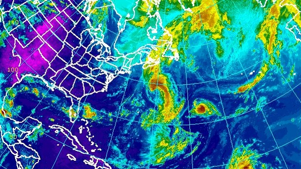 Tropical storm Leslie is visible in this enhanced NOAA satellite image taken 2 p.m. ET on Monday, Sept. 10, 2012.