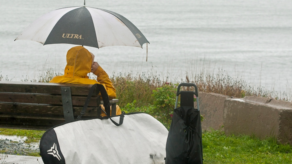 A surfer checks out the waves as tropical storm Leslie churns toward Atlantic Canada in Cow Bay, N.S. near Halifax on Monday, Sept. 10, 2012. (Andrew Vaughan / THE CANADIAN PRESS)