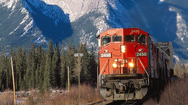 Undated file photo of a CN freight train near Henry House, Alberta. (CN Rail)