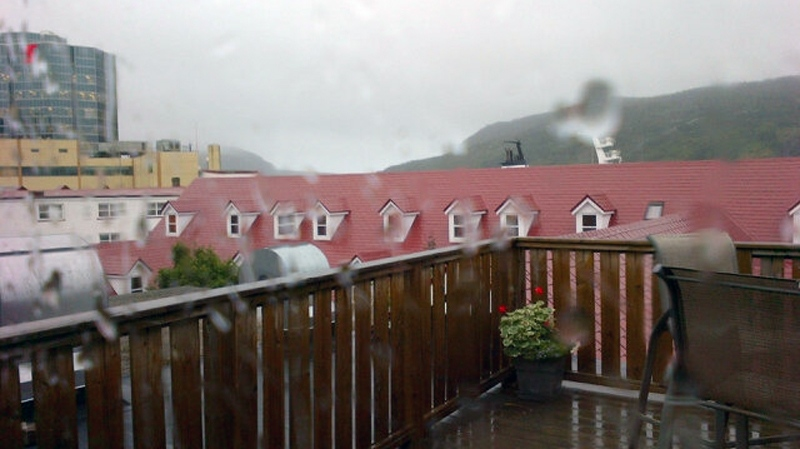 Wind and rain batter St. John's, N.L. as Tropical Storm Leslie comes ashore, Tuesday, Sept. 11, 2012. (Todd Battis / CTV News)