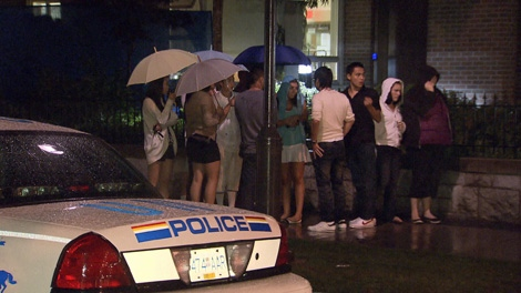 Police were called to break up a large fight at the University of British Columbia's fraternity village on Saturday night. Sept. 11, 2010. (CTV)