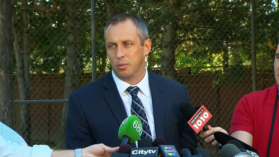 Toronto police Homicide Det. Sgt. Brett Nicol holds a press conference in Toronto on Tuesday, Sept. 11, 2012.
