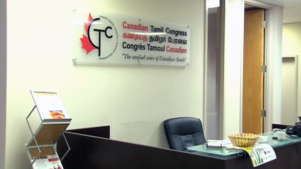 The headquarters of the Canadian Tamil Congress are shown after being broken into in Toronto, Sunday, Sept. 12, 2010.