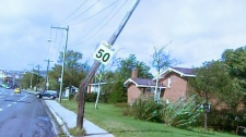 A hydro pole is damaged in St. John's, N.L., on Tuesday, Sept. 11, 2012.