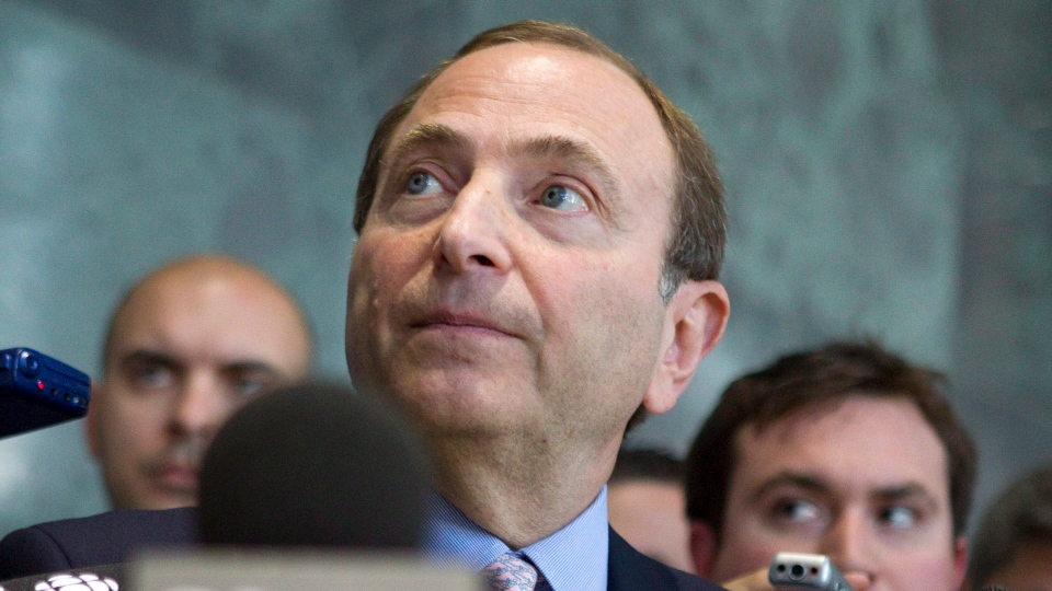 Gary Bettman, Commissioner of the NHL, speaks with reporters following talks with the NHLPA in Toronto on Thursday, Aug. 23, 2012. (Chris Young / THE CANADIAN PRESS)