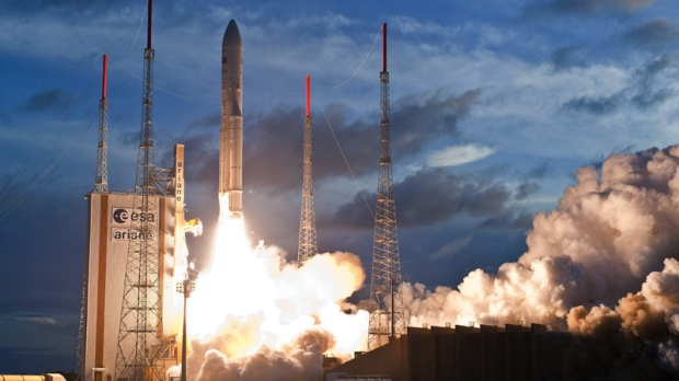 European Space Agency Ariane V rocket lifting off in French Guiana on July 5, 2012.