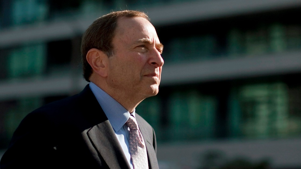 NHL Commissioner Gary Bettman arrives at the NHL Players Association offices in Toronto Thursday, Aug. 23, 2012. (AP / The Canadian Press, Chris Young)