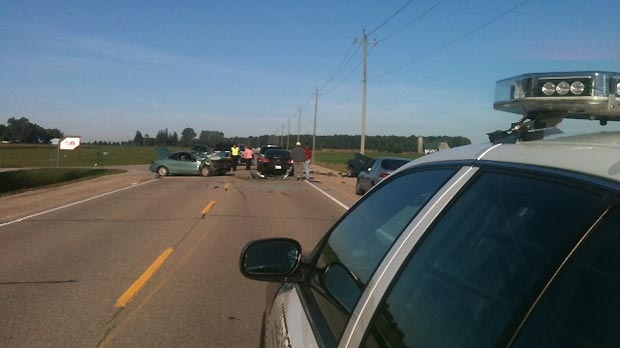 A multi-vehicle crash led to only minor injuries near Elmira, Ont. on Wednesday, Sept. 12, 2012.