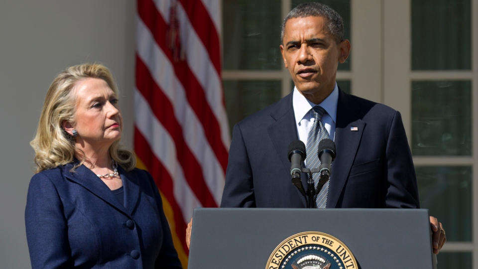 U.S. President Barack Obama, with Secretary of State Hillary Rodham Clinton, speaks in the Rose Garden of the White House in Washington, Wednesday, Sept. 12, 2012. (AP / Manuel Balce Ceneta)
