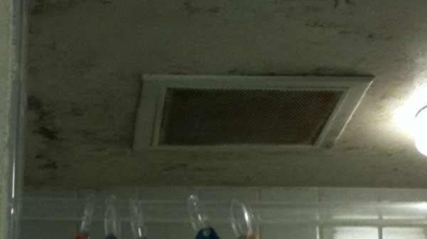 Mould grows on the ceiling in a patient bathroom at the Ottawa Hospital's General Campus.